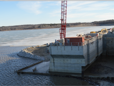 Upstream side of dam showing intake structure. March 2019