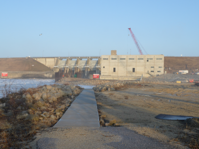 Downstream side of dam showing the powerhouse. March 2019