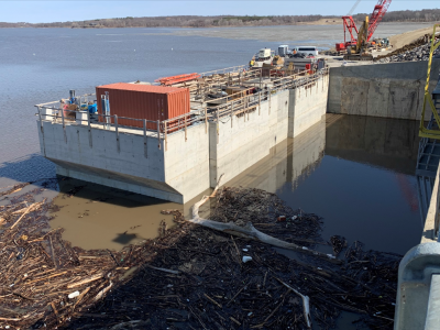 Upstream side of dam showing intake structure during flooding. March 2019