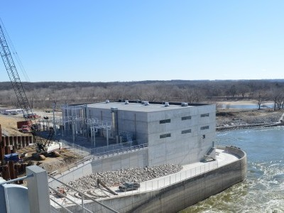 View from the top of the tainter gates looking at the river side. March 3, 2020