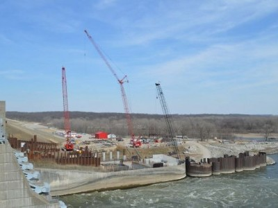 Downstream side of dam showing penstock excavation and powerhouse construction - March 20, 2017.