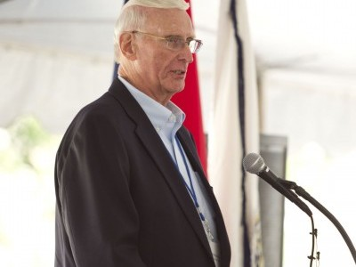 Harold Schiebout, Chairman of the MRES Board of Directors, speaks at the RRHP Groundbreaking Ceremony on August 13, 2014.
