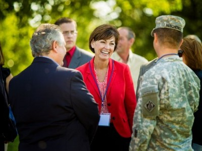 MRES CEO Tom Heller greets Iowa's Lt. Gov. Kim Reynolds and Col Mark Deschenes, Colonel Mark J. Deschenes, Commander and District Engineer of the U.S. Army Corps of Engineers, Rock Island District.