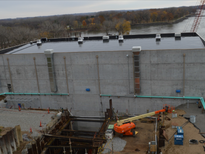 Downstream side of dam showing penstock for Unit 2 excavation, November 2018.