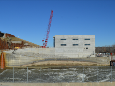 Downstream side of dam showing powerhouse. January 2019