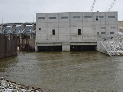 Downstream side of dam showing tailrace, December 2018.
