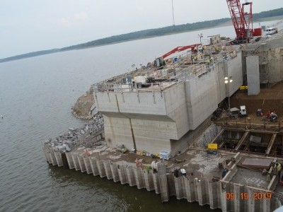 Upstream side of dam showing intake construction. Sept. 9, 2019