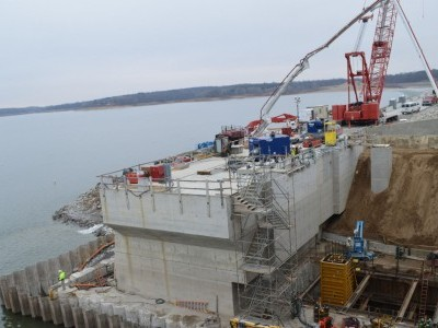 Upstream side of dam showing intake construction and removal of work platform Jan. 5, 2020