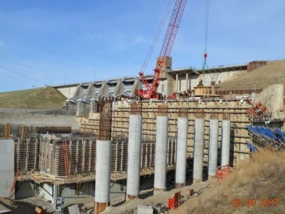 Downstream side of dam showing stay ring install - March 9, 2017.